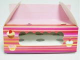 CUP CAKE BOX PINK 6′S